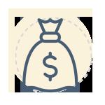 Forex trading course - money bag icon