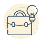 Briefcase and lightbulb icon