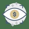 Dollar sign in eye icon
