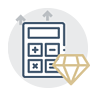 Calculator and gem icon