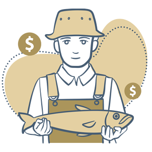 Man holding a fish, with dollar signs in the background