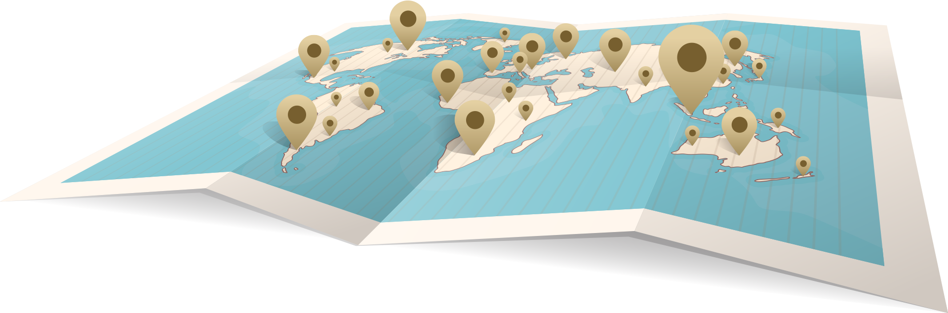 World map with multiple location pins