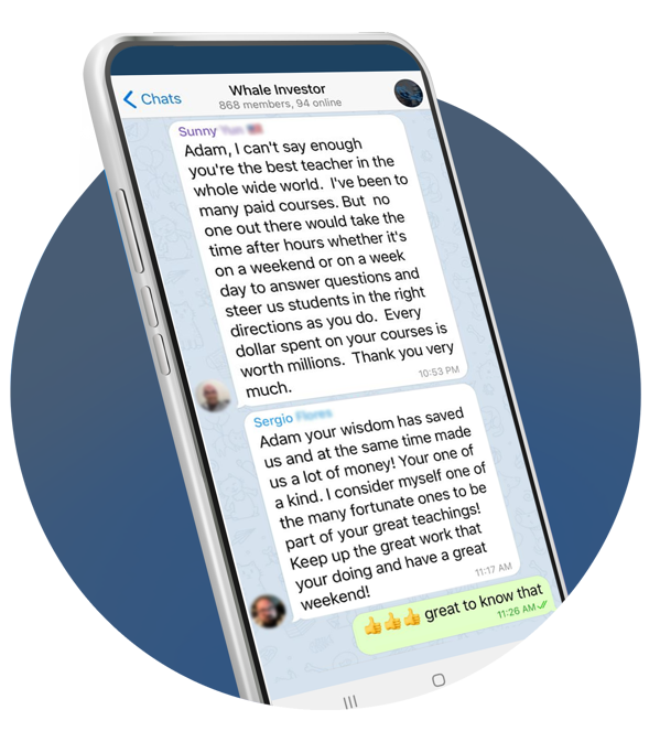Smartphone showing a chat screenshot from the Whale Investor telegram group