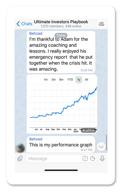 Screenshot of Ultimate Investors Playbook Telegram group