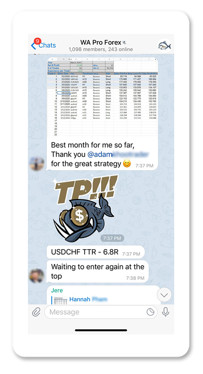 Screenshot of Adam Khoo forex trading course Telegram group