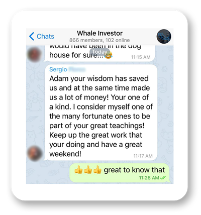 Screenshot of Adam Khoo Value Momentum Investing course Telegram group