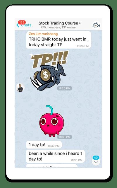 Screenshot of Adam Khoo stock trading course Telegram group