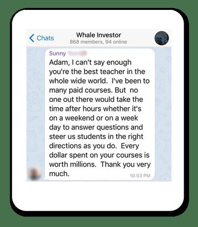 Screenshot of Adam Khoo Whale Investor Telegram group
