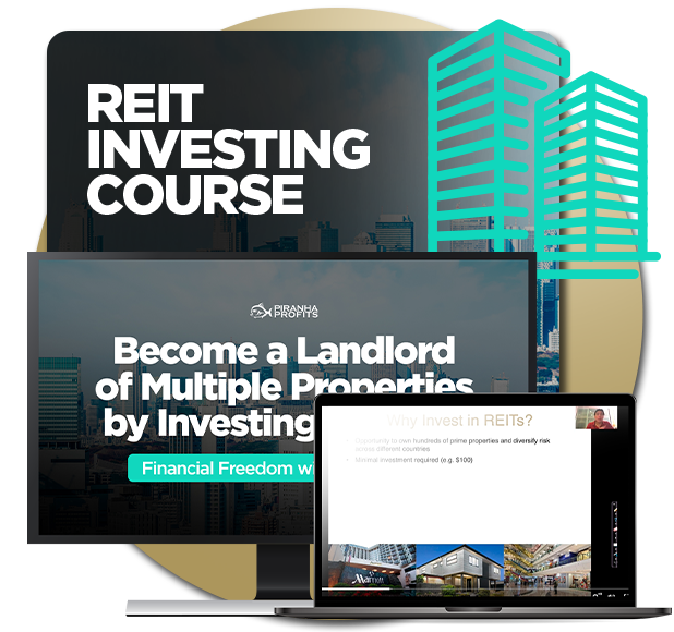 Course banner for REIT Investing course by Adam Khoo, showing the course content in computer and laptop