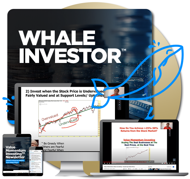 Course banner for Whale Investor Value Momentum Investing course by Adam Khoo, showing the course content in computer, laptop, tablet and smartphone